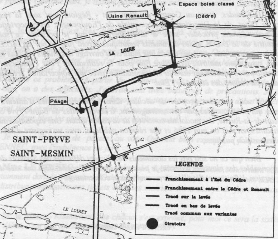 plan du projet de franchissement ouest avril 1996